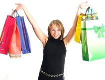 Winkelende mooie vrouwen stock foto's