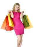 Winkelende sexy vrouw royalty-vrije stock foto