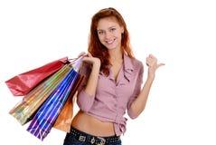 Winkelende sexy vrouw Royalty-vrije Stock Foto's