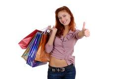 Winkelende sexy vrouw stock foto's