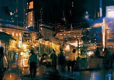 Winkelende straatstad met kleurrijk nachtleven stock illustratie