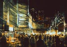 Winkelende straatstad met kleurrijk nachtleven vector illustratie