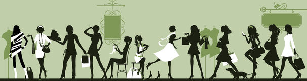 Winkelende vrouw. stock foto