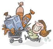 Winkelende vrouw. stock illustratie