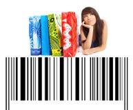 Winkelende Vrouw op streepjescodeachtergrond Stock Afbeelding