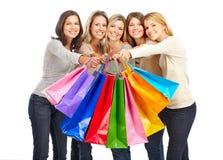 Winkelende vrouwen Stock Afbeeldingen