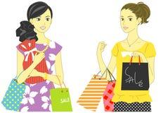 Winkelende vrouwen royalty-vrije illustratie