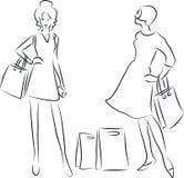 Winkelende vrouwen stock illustratie