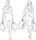Winkelende vrouwen vector illustratie