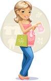 Winkelende zwangere vrouw Stock Afbeelding