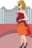 Winkelende zwangere vrouw Stock Foto's