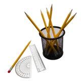 Winkelmesser, Machthaber und Bleistifte Stockbilder