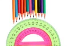 Winkelmesser und Bleistift Stockfotos