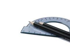 Winkelmesser und Bleistifte Lizenzfreie Stockbilder