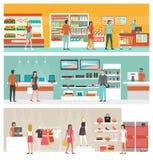 Winkels en opslagbannerreeks Royalty-vrije Stock Foto's