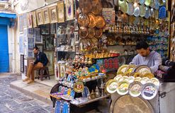 Winkels in Tunis, Tunesië stock afbeeldingen