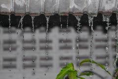 Winken Sie Wassertropfenregen vom Dach, Weichzeichnungswasser zu Lizenzfreie Stockfotografie