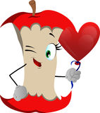 Winking apple core with heart balloon Stock Image