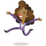 Winking business woman jumping Stock Photo