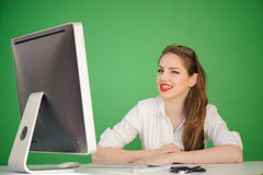 Winking businesswoman Stock Image