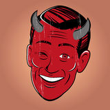 Winking cartoon devil Stock Images