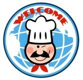 Winking chef face over a globe Stock Photos