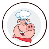 Winking Chef Pig Face Cartoon Mascot Character Circle Banner Stock Photo