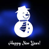 Winking Christmas snowman with Happy New year text. And blue Christmas background Stock Photography