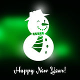 Winking Christmas snowman with Happy New year text. And green Christmas background Stock Photos