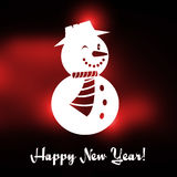 Winking Christmas snowman with Happy New year text. And red Christmas background Stock Images