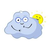 Winking cloud cartoon character. Lovely cloud and sun smile with thumbs up. Sky object character in good mood. Weather forecast icon. Cloud storage concept Royalty Free Stock Image
