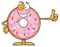 Winking Donut Cartoon Character With Sprinkles Giving A Thumb Up. Illustration Isolated On White Stock Images