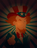 Winking Eye Uncle Sam. Cartoon Young Uncle Sam Character Pointing Finger and Winking Eyes Vector Illustration vector illustration