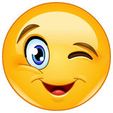 Winking face emoticon royalty free illustration