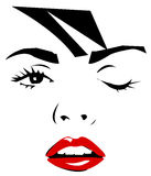 Winking girl. Illustration of beautiful winking female face with red lips Royalty Free Stock Images