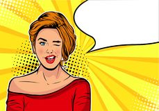 Free Winking Girl. Cartoon Comic Vector Illustration In Pop Art Retro Style. Royalty Free Stock Photography - 112189767