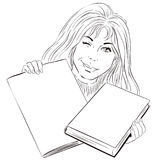 A winking girl with magazine and book. Stock illustration. Royalty Free Stock Image