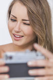 Winking Girl Woman Taking Selfie Picture Stock Image