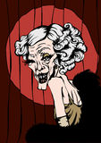 Winking Granny. Based on a hand drawn sketch. Cartoon of an old woman in a suggestive pin up winking pose and typical cabaret attire Stock Photo