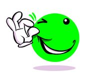 Winking and grinning cartoon emoticon emoji. Winking and grinning green cartoon emoticon emoji gesturing okay Royalty Free Stock Images
