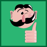 Winking man with like. Illustration of winking man with like on the green background Royalty Free Stock Photography