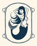 Winking mermaid illustration. Vintage vector illustration of winking mermaid over white background Stock Photo