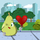 Winking pear with heart balloon in the city park Royalty Free Stock Photo