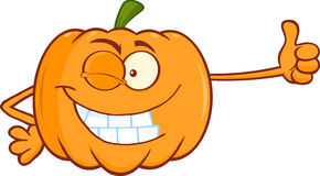 Winking Pumpkin Cartoon Character Giving A Thumb Up Royalty Free Stock Image