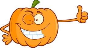 Winking Pumpkin Cartoon Character Giving A Thumb Up Royalty Free Stock Image
