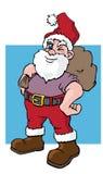 Winking Santa. A cartoon illustration of a winking Santa Claus with his bag of goodies Stock Image