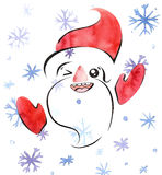 Winking and smiling Santa Claus, handdrawn watercolor illustration with clipping mask, cute kawaii noetic style Stock Image