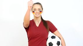 Winking Soccer Female with German Flag stock video footage