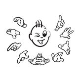 Winking stick figure with hands. Hand-drawn Vector Clipart Stock Photography