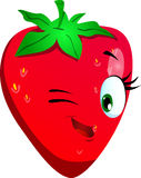 Winking strawberry Royalty Free Stock Photo